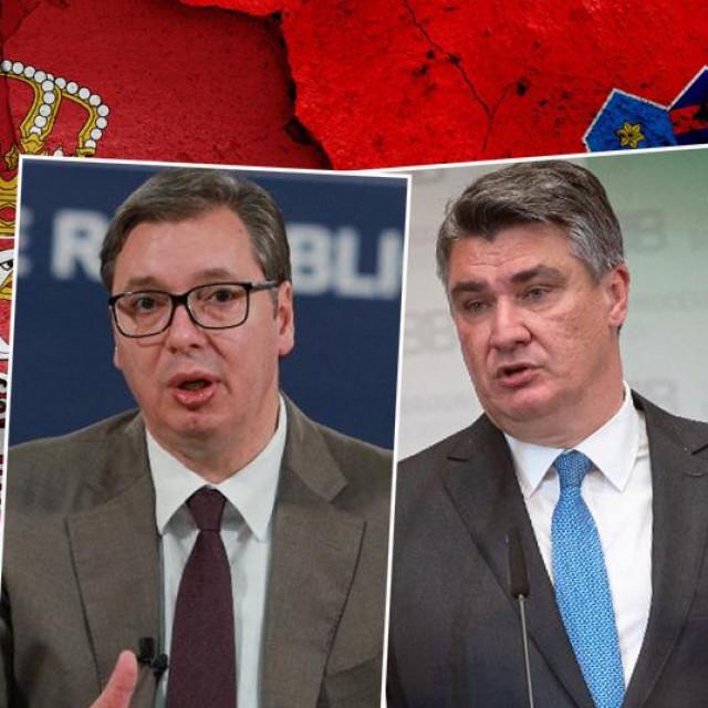 Aleksandar Vučić i Zoran Milanović, u pozadini srbijanska i hrvatska zastava