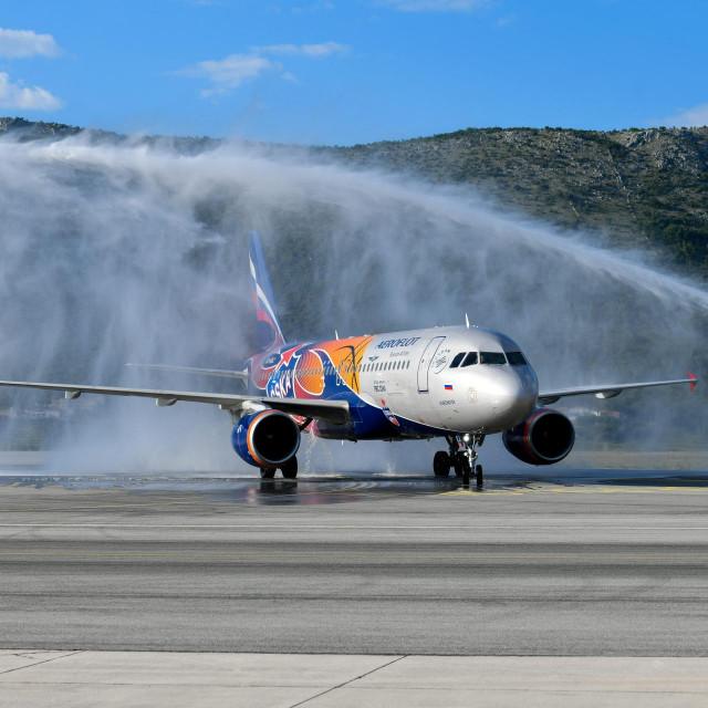 Svečani doček zrakoplova Ruskog nacionalnog avioprijevoznika Aeroflot u zračnoj luci Dubrovnik