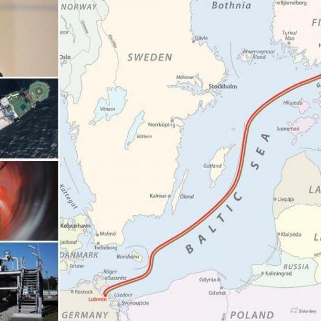 Karta koja prikazuje kuda prolazi plinovod Sjeverni tok 2, s lijeve strane Vladimir Putin i prizori gradnje plinovoda