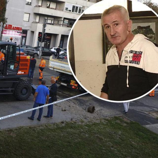 Puknuće cijevi u Zagrebu, domar (u krugu)