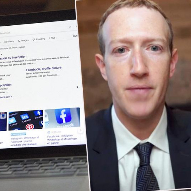 Ilustracija pada Facebooka i Mark Zuckerberg