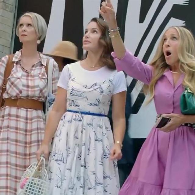 """Cynthia Nixon, Kristin Davis i Sarah Jessica Parker na snimanju mini serije """"And Just Like That..."""""""