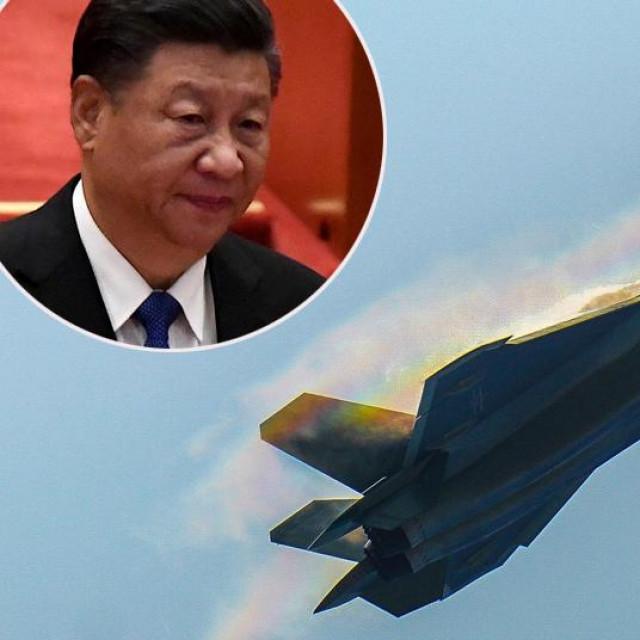 Xi Jinping i kineski borbeni avion Chengdu J-20