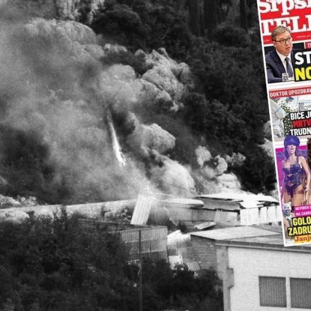 Napad na okolicu Dubrovnika i screenshot naslovnice Srpskog Telegrafa