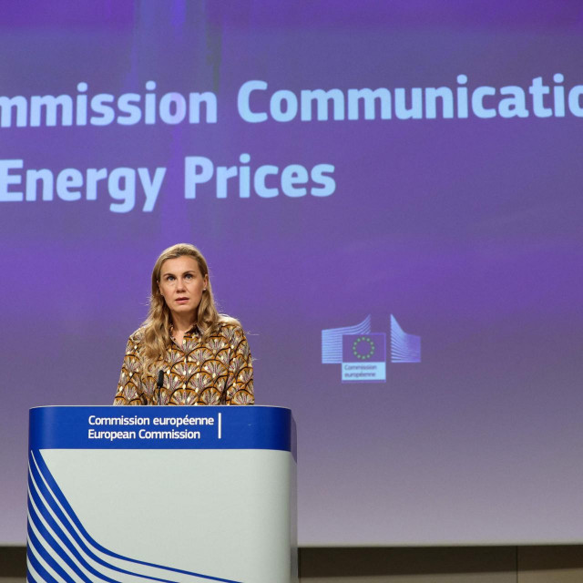 Commissioner for Energy Kadri Simson holds a press conference after the College of Commissioners' meeting laying out the European Commission actions on energy prices increase at the European Commission headquarters, in Brussels on October 13, 2021. (Photo by Aris Oikonomou/AFP)
