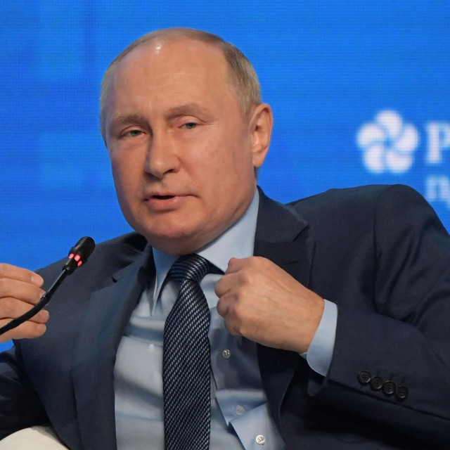 Russian President Vladimir Putin attends a session of the Russian Energy Week International Forum in Moscow on October 13, 2021. (Photo by Sergei GUNEYEV/SPUTNIK/AFP)
