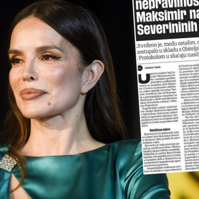 Severina i screenshot teksta u Jutarnjem listu