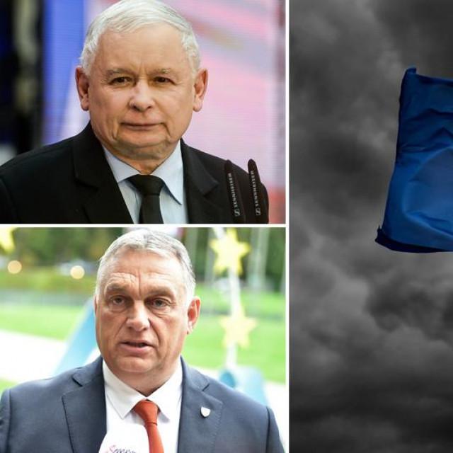 Jarosław Kaczyński, Viktor Orban i zastava EU