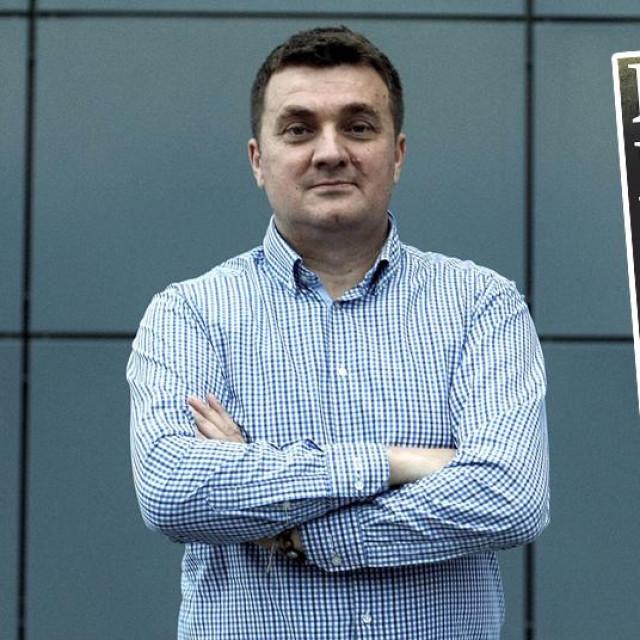 Nikola Kajkić; u pravokutniku: naslovnica srpskih novina Blic