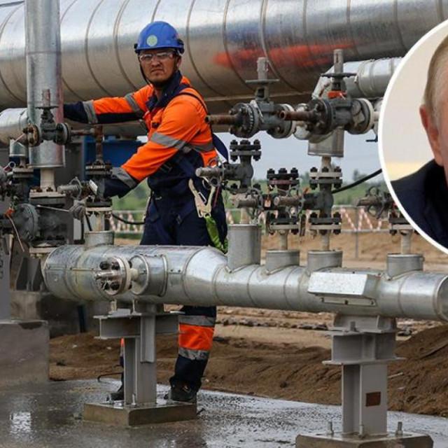 Gazpromovo postrojenje za obradu plina; u krugu: Vladimir Putin