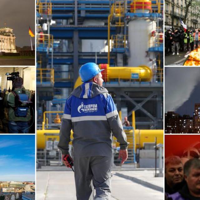 Lijevo: Berlin, Rim, Beč; u sredini: radnik Gazproma na plinovodu Sjeverni tok 2; desno: Pariz, Bratislava, Sofija