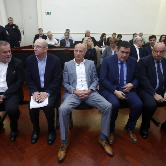 Suđenje za aferu Agram. Na fotografiji: Milan Bandic, Slobodan Ljubičić Kikaš, Petar Pripuz, Ivan Tolić, Miljenko Benko