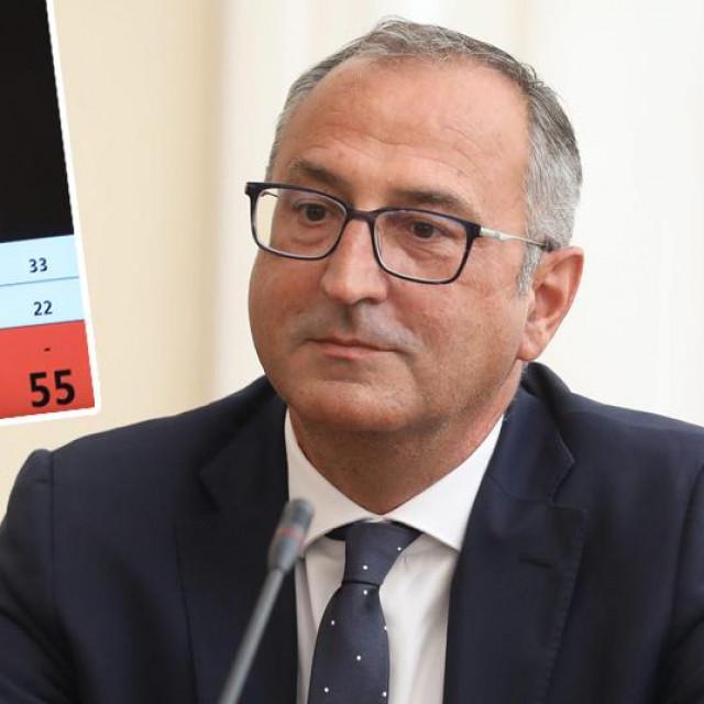 Robert Šveb; u pravokutniku: rekapitulacija glasovanja u novom ravnatelju Hrvatske radiotelevizije