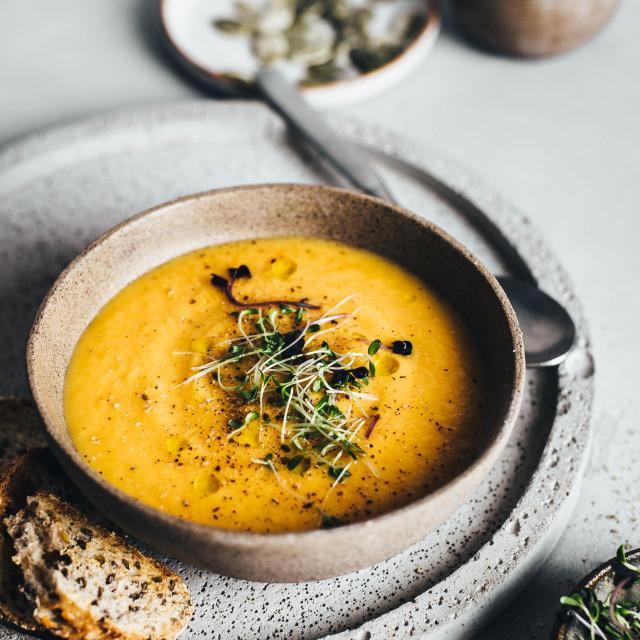 pumpkin soup soup cream soup orange color lunch food dinner