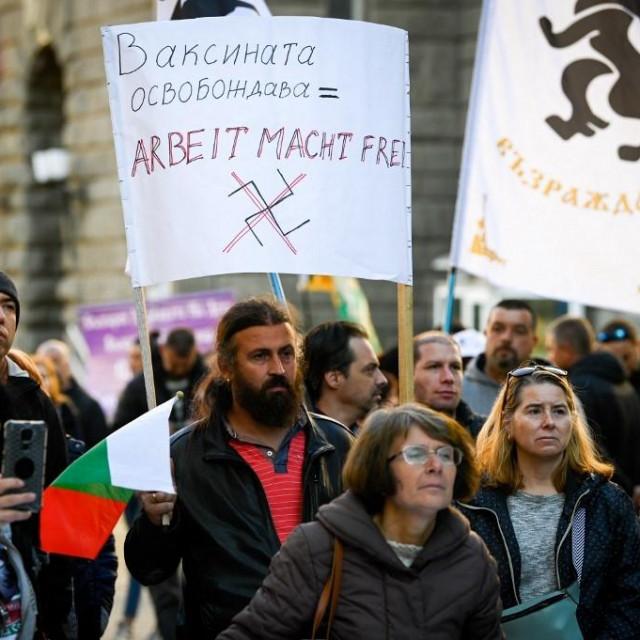 Prosvjedi protiv cjepljenja u Sofiji.